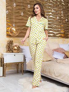 Пижама женская брюки и рубашка Нади ананас