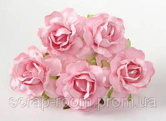Роза бумажная розовая диаметр 4,5 см, роза розово-персиковая, роза розовая Таиланд 2,5 см, цена за 1 шт