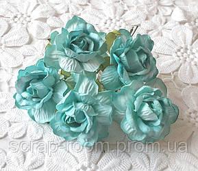 Роза бумажная мятная диаметр 4,5 см, роза мятная, бумажная роза бирюзовая 4,5 см Таиланд, цена за 1 шт