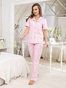 Розовая пижама женская с брюками Нади