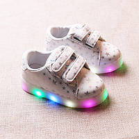 White&Stars kids, Белые со звездами светящиеся кроссовки LED, размер 28 (LK 1070)