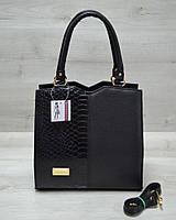 Класична жіноча сумка Трикутник чорного кольору з чорною коброю, фото 1