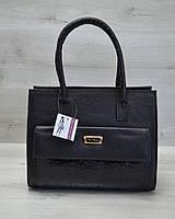 Каркасна жіноча сумка з накладною кишенею чорний лаковий, фото 1