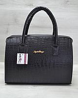Каркасная женская сумка WeLassie Саквояж черный крокодил, фото 1