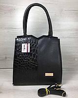 Класична жіноча сумка Трикутник чорного кольору з чорним лаковим крокодилом, фото 1