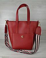 Молодежная женская сумка WeLassie Милана с Ярким ремнем красного цвета, фото 1
