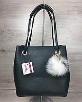 2в1 жіноча сумка Пушок зеленого кольору, фото 1
