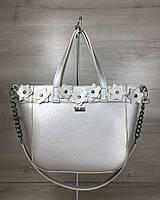 Жіноча сумка Дарина срібного кольору (нікель), фото 1