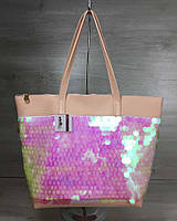 Женская сумка WeLassie «Лейла» пудрового цвета с пайетками в виде шариков, фото 1
