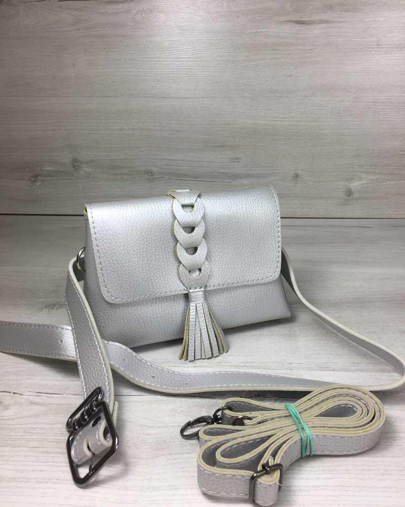 aa13b2e1d478 Женская сумка на пояс- клатч Белла серебряного цвета с плетением и  кисточкой - Модна Хустка