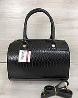 Женская сумка WeLassie Маленький Саквояж черного цвета со вставкой черная кобра, фото 1