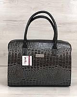 Каркасная женская сумка WeLassie Саквояж серый лаковый крокодил, фото 1
