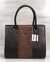 Жіноча сумка WeLassie Бочонок коричневого кольору зі рудий крокодил, фото 1