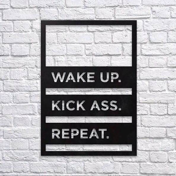 Декоративное панно из дерева Wake up. Kick ass. Repeat.