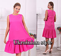 Летнее яркое батальное льняное платье без рукавов. 5 цветов!, фото 1