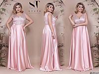 cc7239ad7c9 Красивое женское платье в пол с вышивкой на сетке и атласной юбкой 48 50
