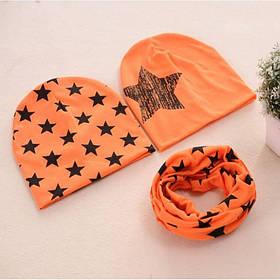 Шапка детская  демисезонная весна-осень  + бафф в комплекте 2-4 года Оранжевый