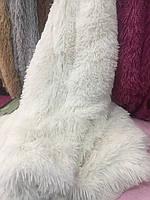 Покрывало на кровать с длинным ворсом меховое 220х240 цвет молочный