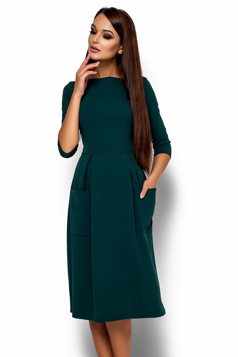 (S, M, L) Вишукане жіноче темно-зелене плаття-міді Somaly