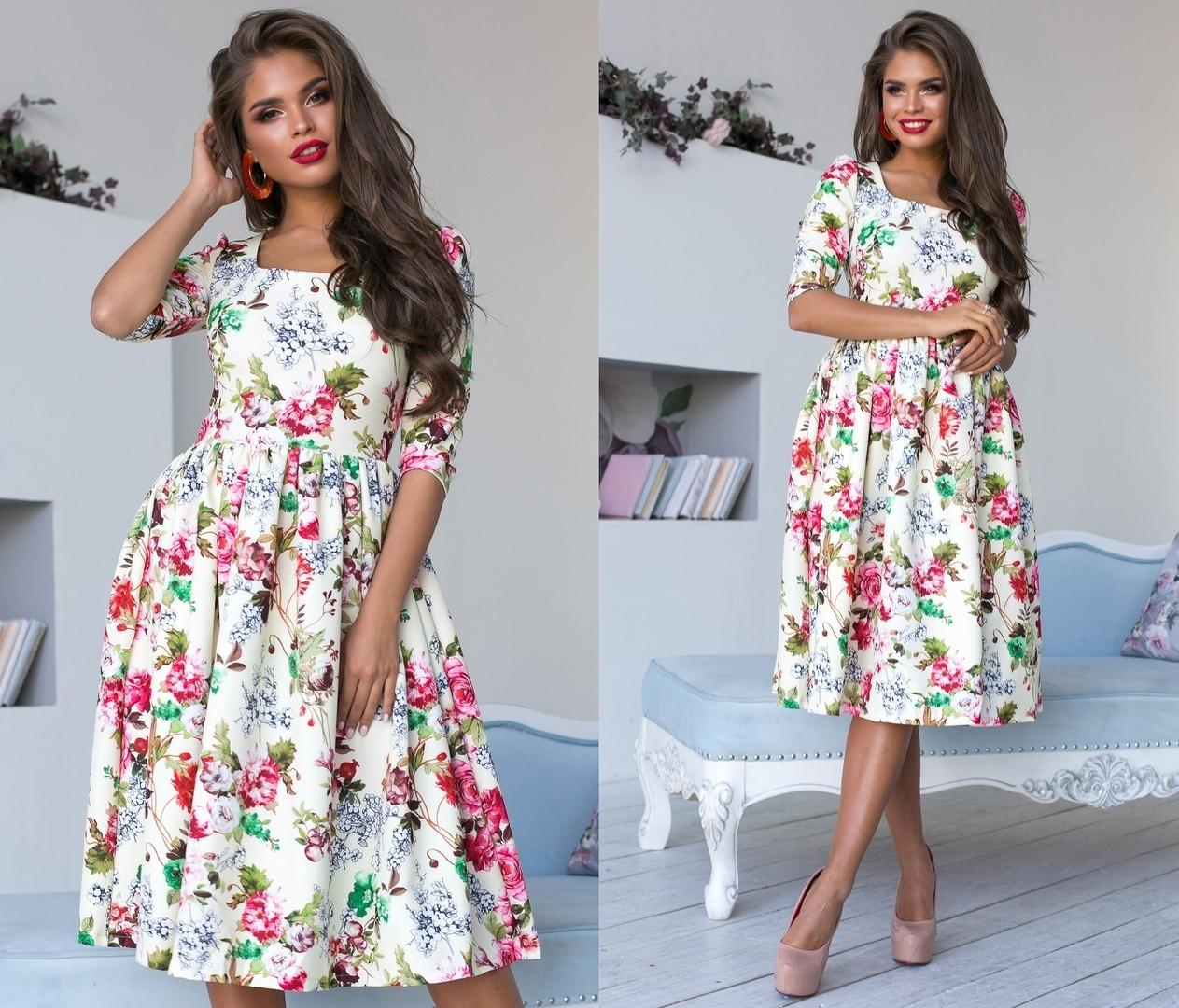 55d4f2842e7767 Платье - цветочный принт. Кремовое, 4 цвета. Р-ры: 42,44,46., цена ...