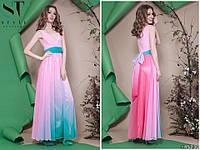 Женское шифоновое платье в пол, омбре