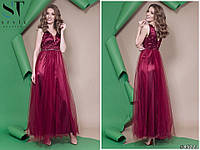 Вечернее платье в пол, вышивка на сетке + сетка