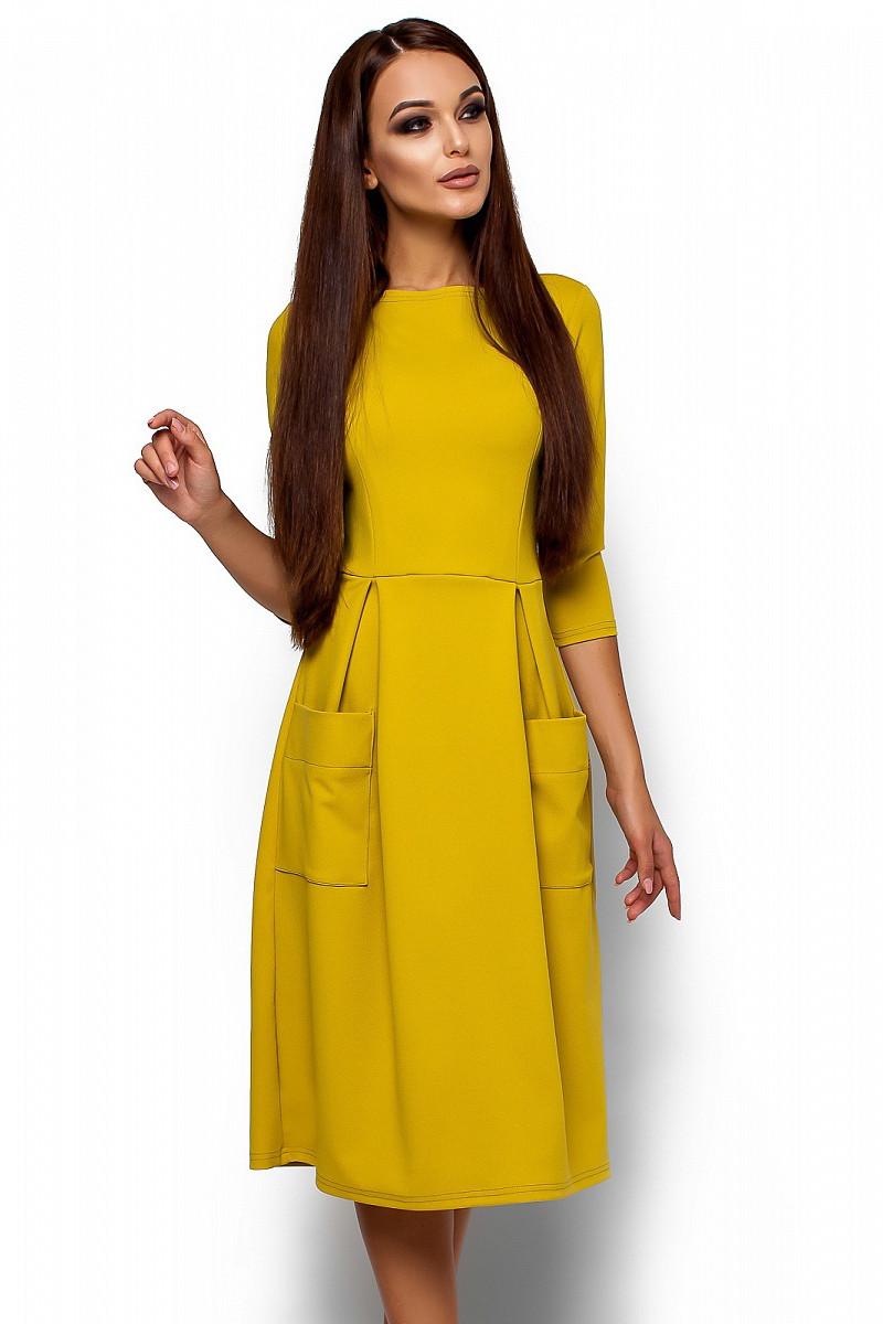 (S, M, L) Вишукане жіноче гірчичне плаття-міді Somaly