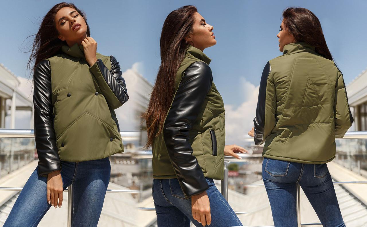 """Женская стильная куртка на синтепоне демисезон 5-989 """"Supestar"""" в расцветках"""