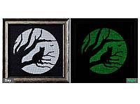 """""""Кошка и луна"""" Картина вышитая крестиком люминесцентными нитками"""