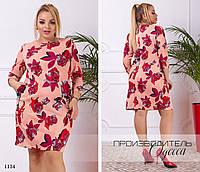 Платье короткое с карманами принт трикотаж 50-52,54-56,58-60,62-64, фото 1