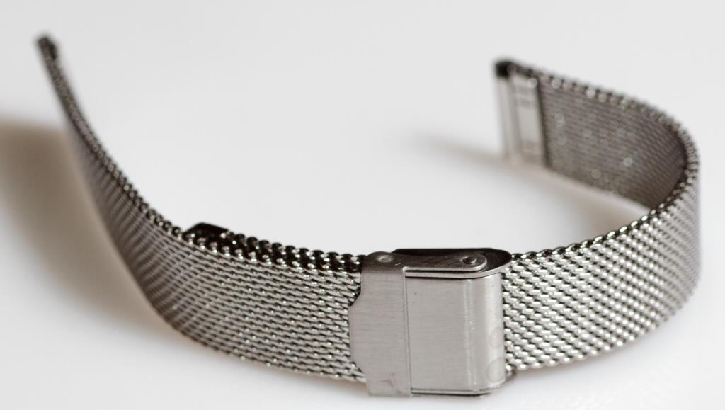 Браслет сетка на часы Миланское Плетение,14 мм. Серебро