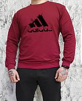 Мужской спортивный бордовый свитшот, кофта, лонгслив, реглан Adidas Originals, Реплика