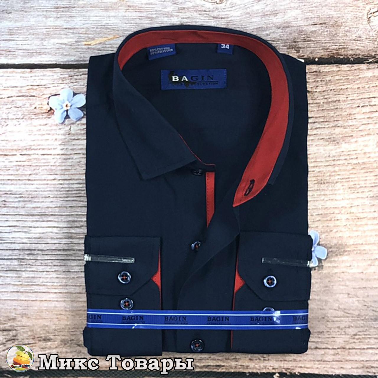 Тёмно синяя рубашка с бордовыми вставками Размеры: с 28 по 36 ворот (8330)