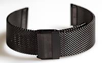 Браслет сетка на часы Миланское Плетение, 22 мм. Черный