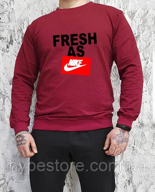Мужской спортивный бордовый свитшот, кофта, лонгслив, реглан Nike Fresh As, Реплика