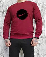 Мужской спортивный бордовый свитшот, кофта, лонгслив, реглан Nike, Реплика