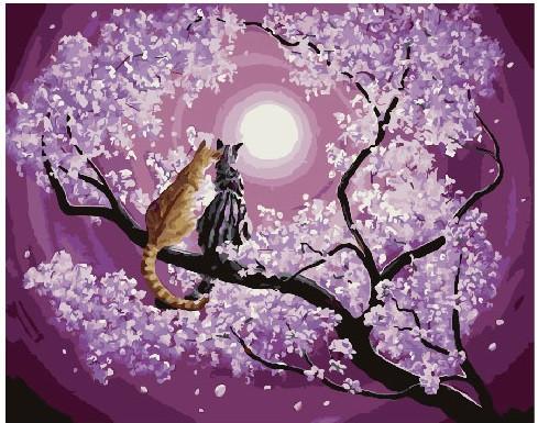 Картина по номерам Мартовские кошки на сакуре, 40x50 см., Brushme