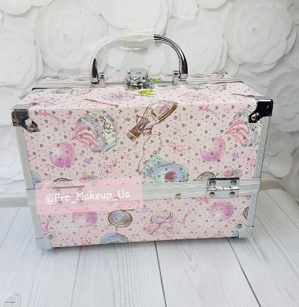 Косметический бьюти-кейс PRO Makeup Pink (металл)
