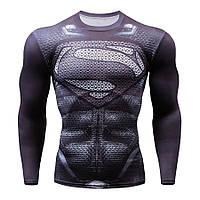 Мужская футболка для фитнеса с рукавом Супермен (рашгард rashgard), черный, фото 1