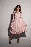 Платье на запах красивое в горошек с оборками открытые плечи миди Smf3105, фото 1