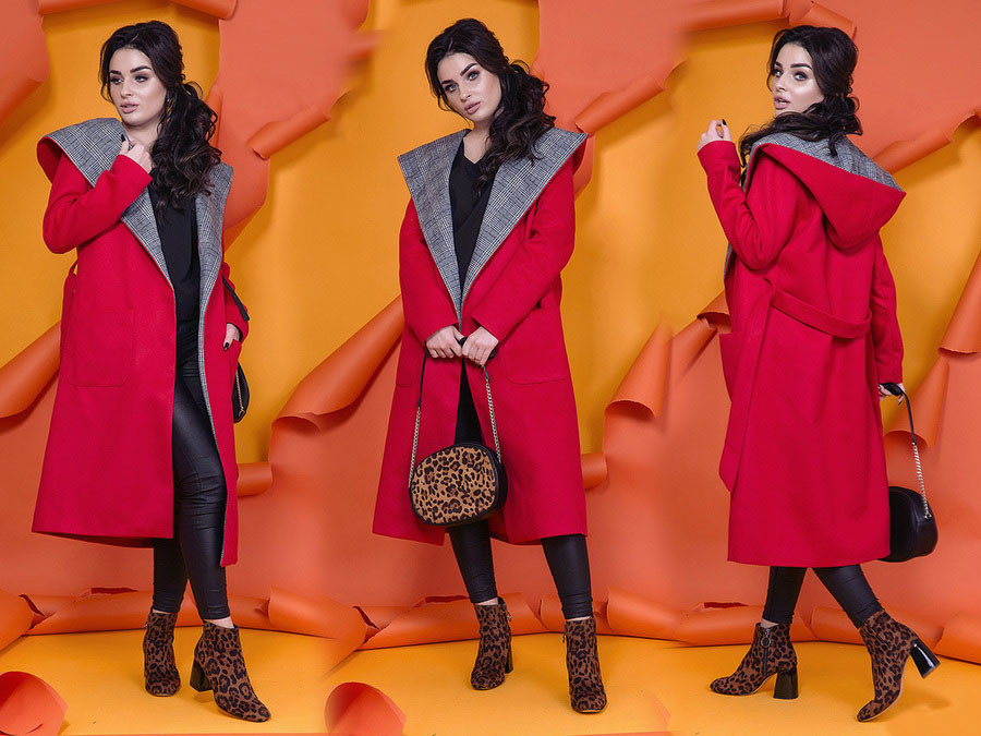 """Стильное женское пальто демисезон 1085 """"Кашемир Запах Капюшон Клетка"""" в расцветках"""