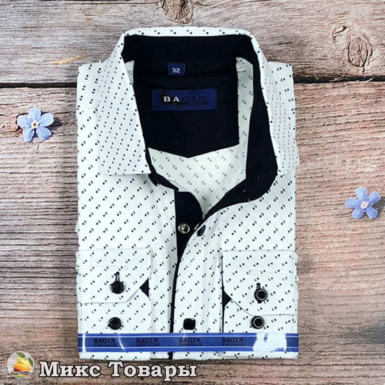 """Белая рубашка с узором """"Трансформер"""" Размеры: с 28 по 36 ворот (8343)"""