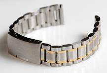 Браслет для годинника ELITE з нержавіючої сталі, 18 мм. Срібло із золотими елементами