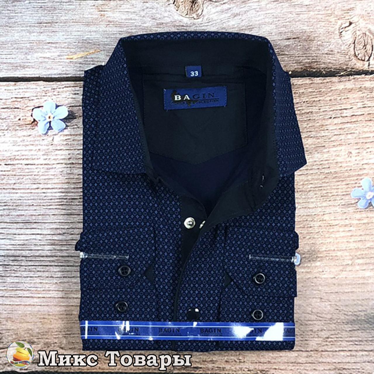 """Темно синяя рубашка с узором """"Трансформер"""" Размеры: с 28 по 36 ворот (8344)"""