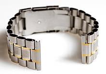 Браслет для годинника ELITE з нержавіючої сталі, 20 мм. Срібло із золотими елементами