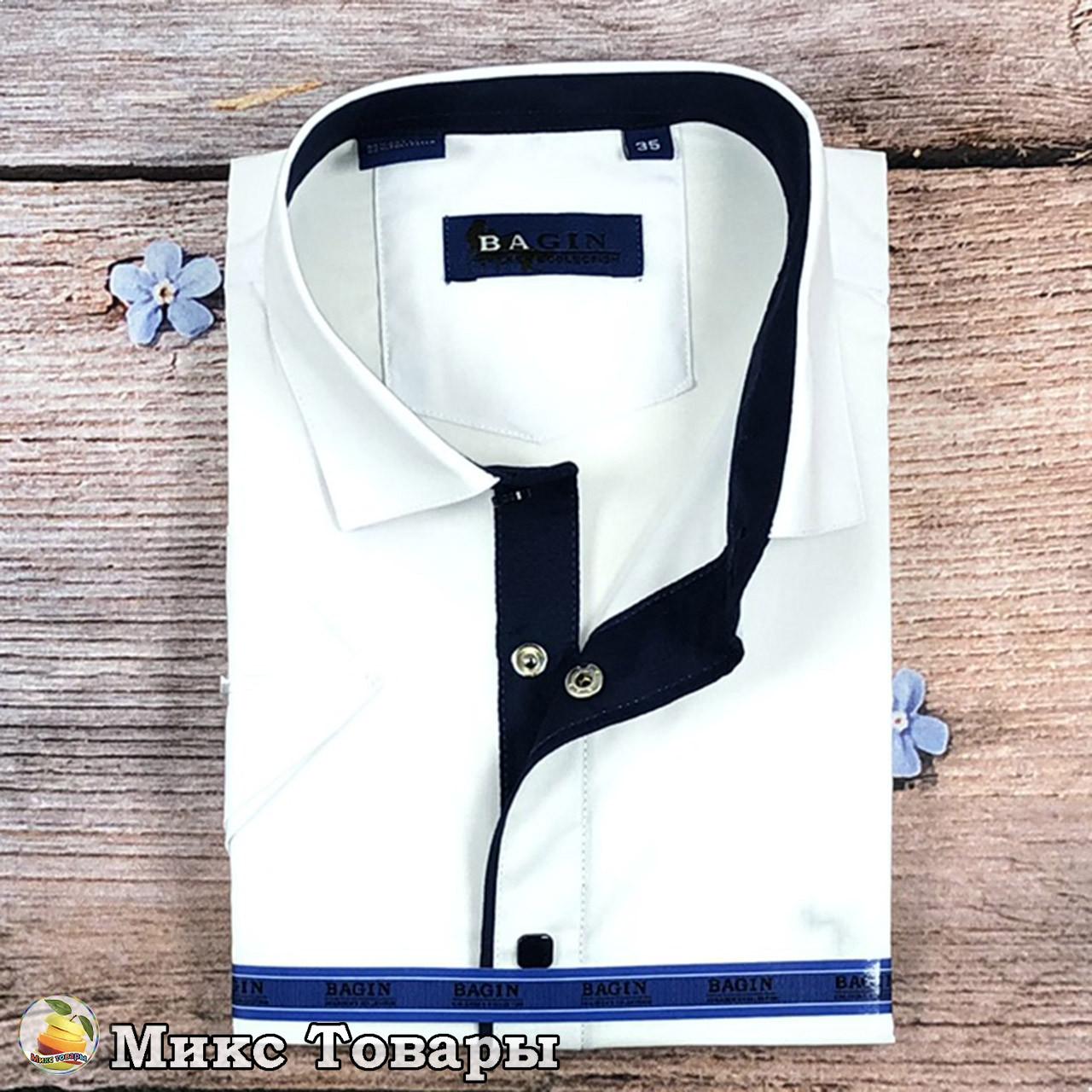 Рубашка на кнопках с коротким рукавом для мальчика Размеры: от 28 по 36 ворот (8349)
