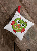 """Набор для вышивания крестом ТМ Permin """"Подушечка Зеленая сова (Pincushion, green owl)"""" 03-7395"""