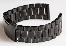 Браслет для годинника ELITE з нержавіючої сталі, 22 мм. Чорний