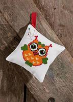 """Набор для вышивания крестом ТМ Permin """"Подушечка Оранжевая сова (Pincushion, orange owl)"""" 03-7394"""