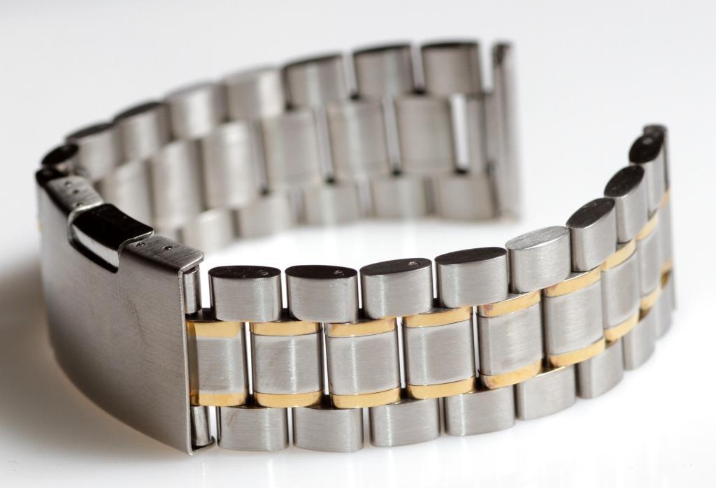 Браслет для часов ELITE из нержавеющей стали, 22 мм. Серебро с золотыми элементами